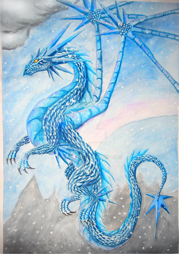 ice dragon by wyldfire7 on deviantart drawings of ice dragons