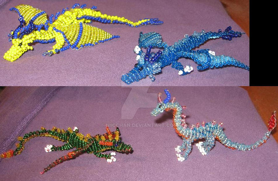 Beaded Elemental Dragons by Niicchan