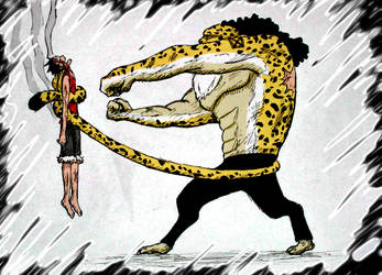 Luffy vs Rob Lucci by Niicchan