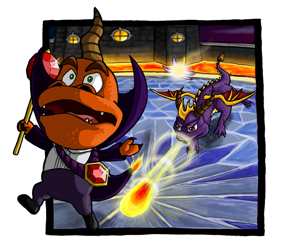 Spyro vs. Ripto by Niicchan