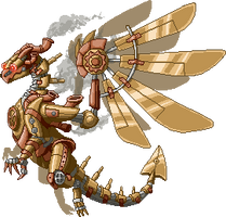 Steampunk Dragon Pixelart