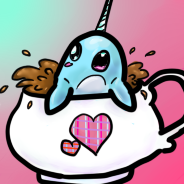 narwhal in a CUP (icon) by TopHatfaerie