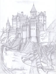 Castle in the Mountain by fantasiaart93