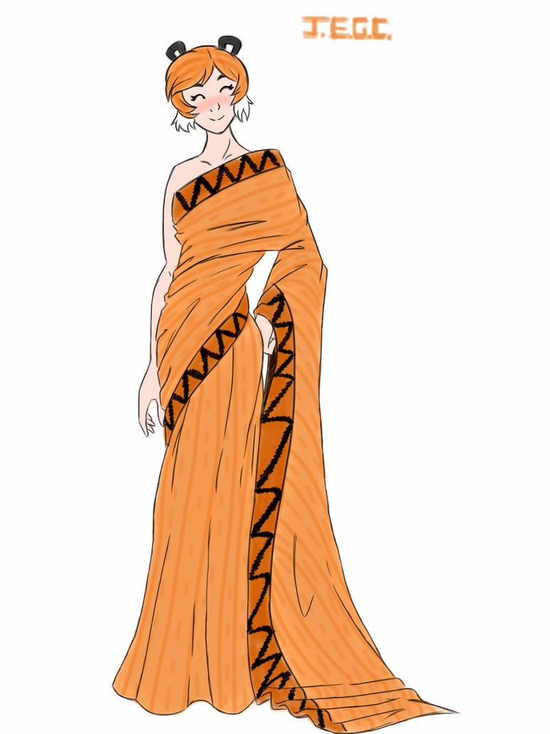 Rule 63 hobbes in a Sari dress by jjjjoooo1234