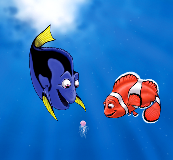 Dory and Marlin..and squishy.. by Lizzy23 on DeviantArt