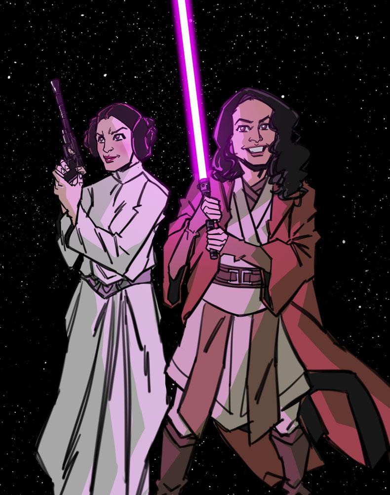 Jedi Escort to the Princess by agamarlon