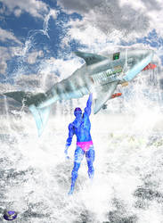 Blurry Vs the Cybershark by Winterhawk200