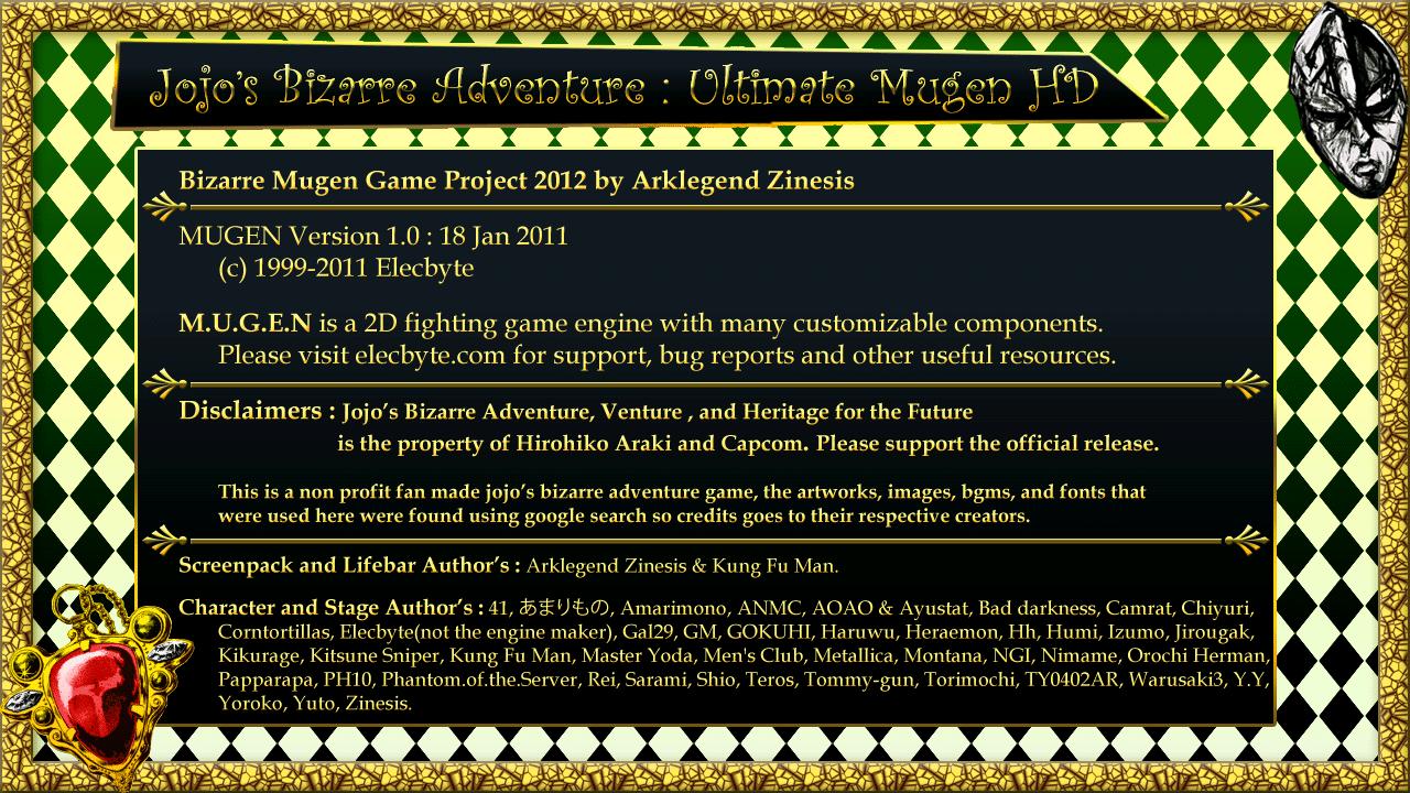M U G E N Projects: Jojo's Bizarre Adventure Ultimate Mugen HD