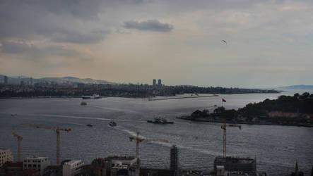 View at Bosphorus inflowing into Marmara Sea by kopalov