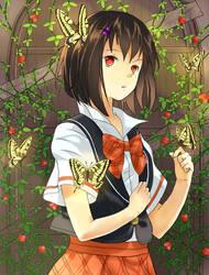 Girl and Golden Butterflies