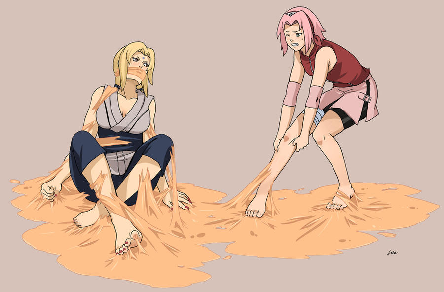 Sakura and Tsunade glue peril by lostonezero