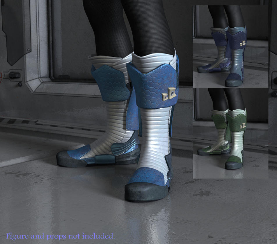 Sci-fi Boots for V4, V3, and A3   Footwear for Daz Studio and Poser