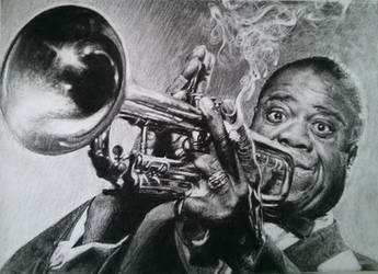 Louis Armostrong Trumpet charcoal A4 by Helsartpage