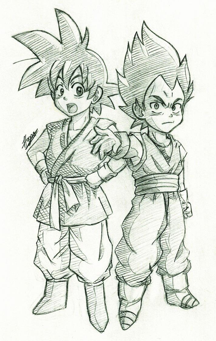Goku and Vegeta by HaganeNoChibiSan