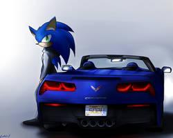 Sonic and Corvette Stingray by oLEEDUEOLo