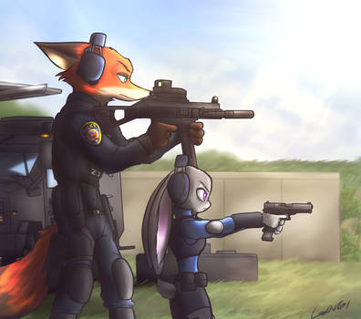 Nick and Judy in firing range by oLEEDUEOLo