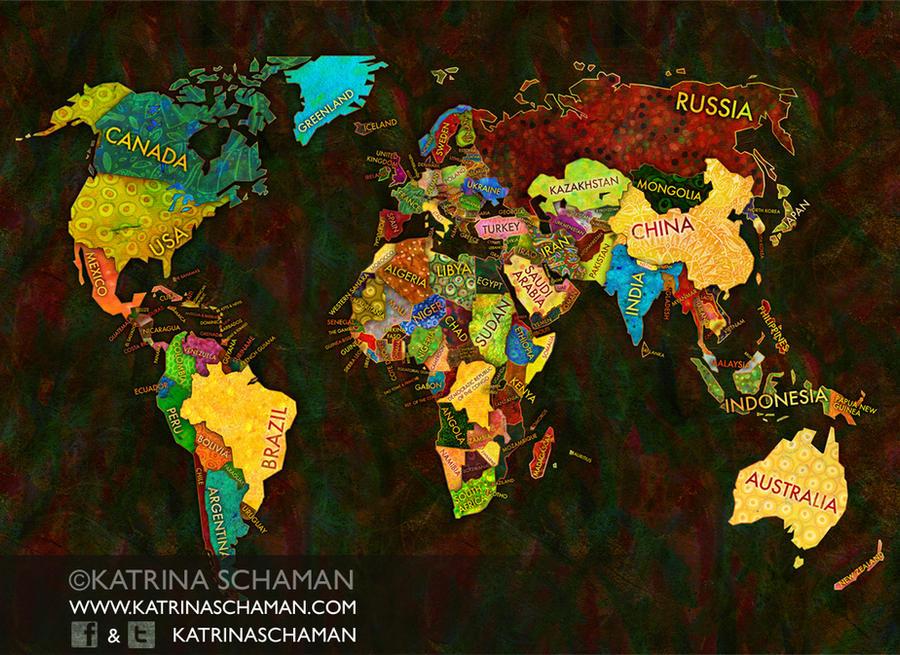 Unique World Map Illustration by kschaman