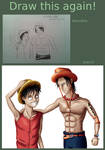 Draw this again - Luffy and Ace by MSJPSakura