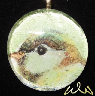 Sweet Bird - Upcycled Glass Cabochon Pendant by Witchwater