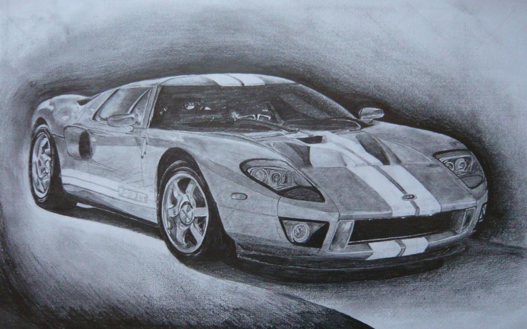 Ford Gt Tonal Drawing By Joshthetigers