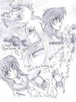 Inuyasha and Kagome Sketch by nor-renee