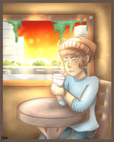Cafe at sunset by WeepyKing