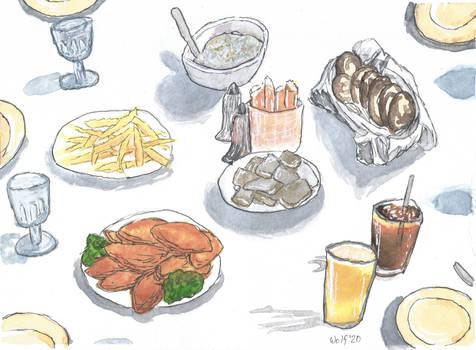 Inktober 52 2020 #7: Dinner