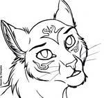 Free Cat Headshot Lineart