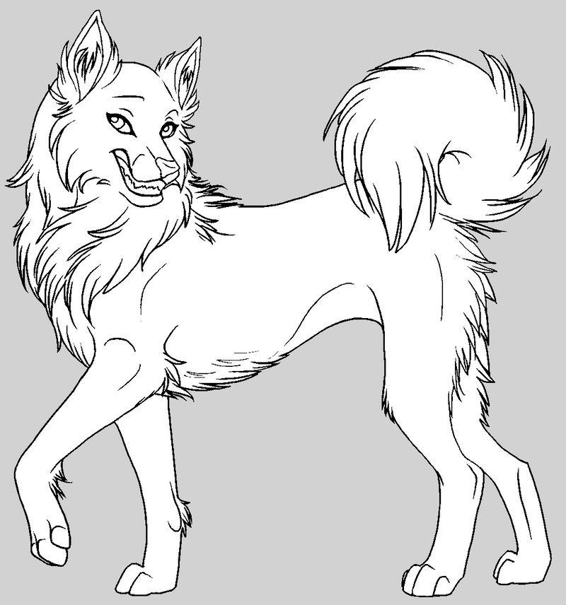 Female husky free lineart