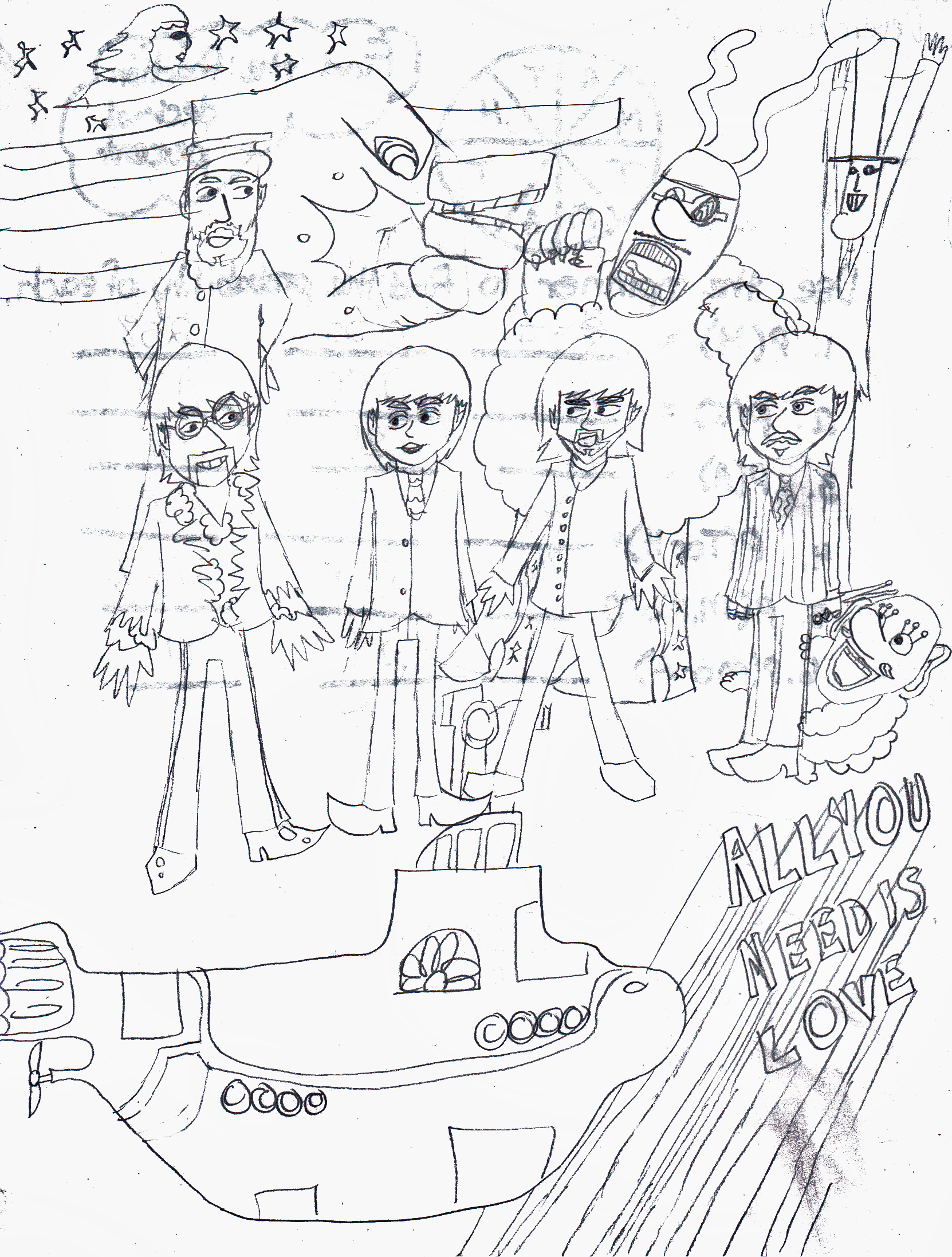 yellow submarine coloring page - yellow submarine sketch by herothehedgefox on deviantart