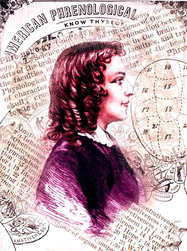 Collage of Anna Cora Mowatt and Phrenology ads