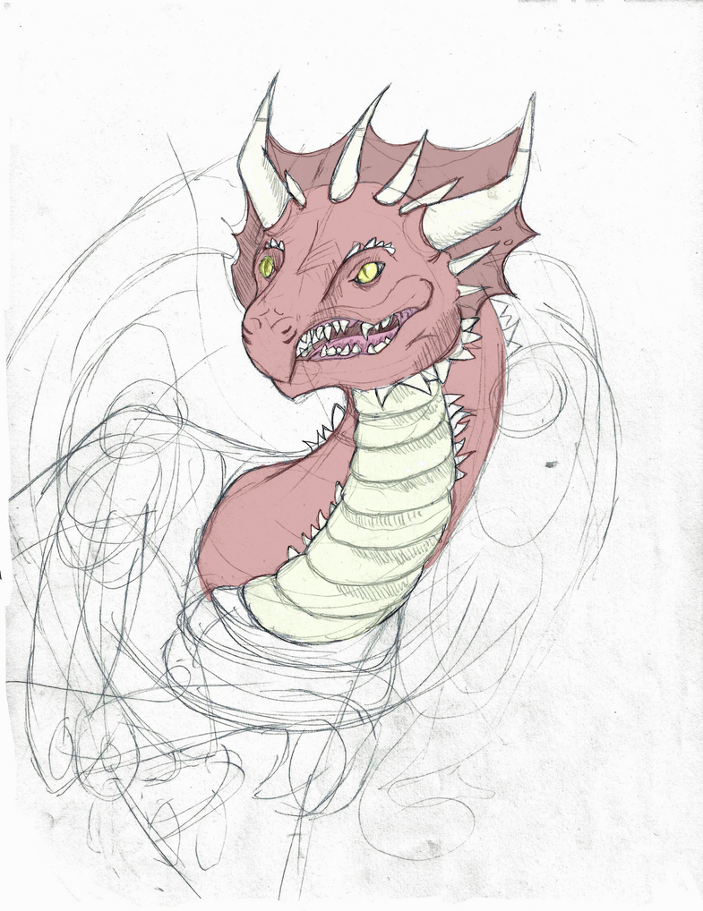 Red Dragon Sketch by Marsupialbandit