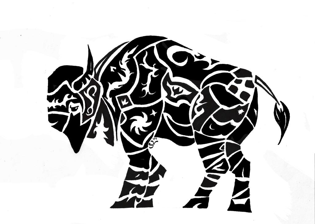 Buffalo Tribal tattoo Design by Marsupialbandit