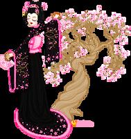 cherry blossom geisha by orenji-seira