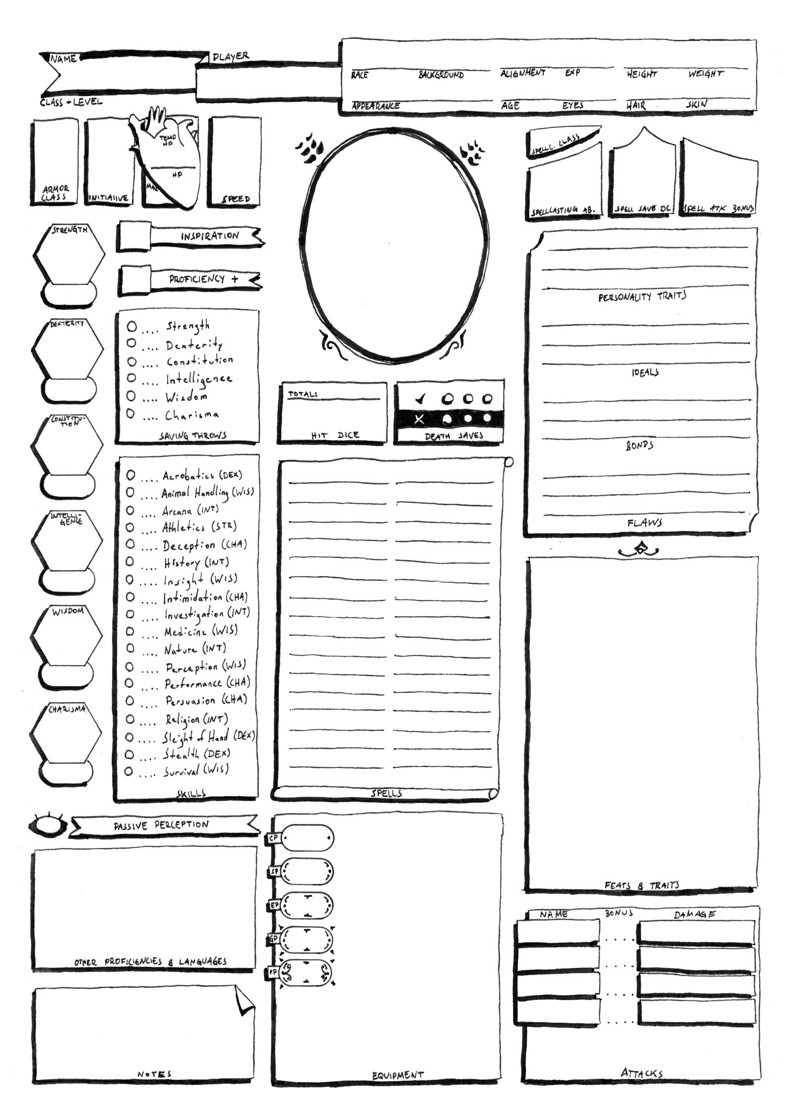 It is a photo of Agile Dnd 5e Printable Character Sheet