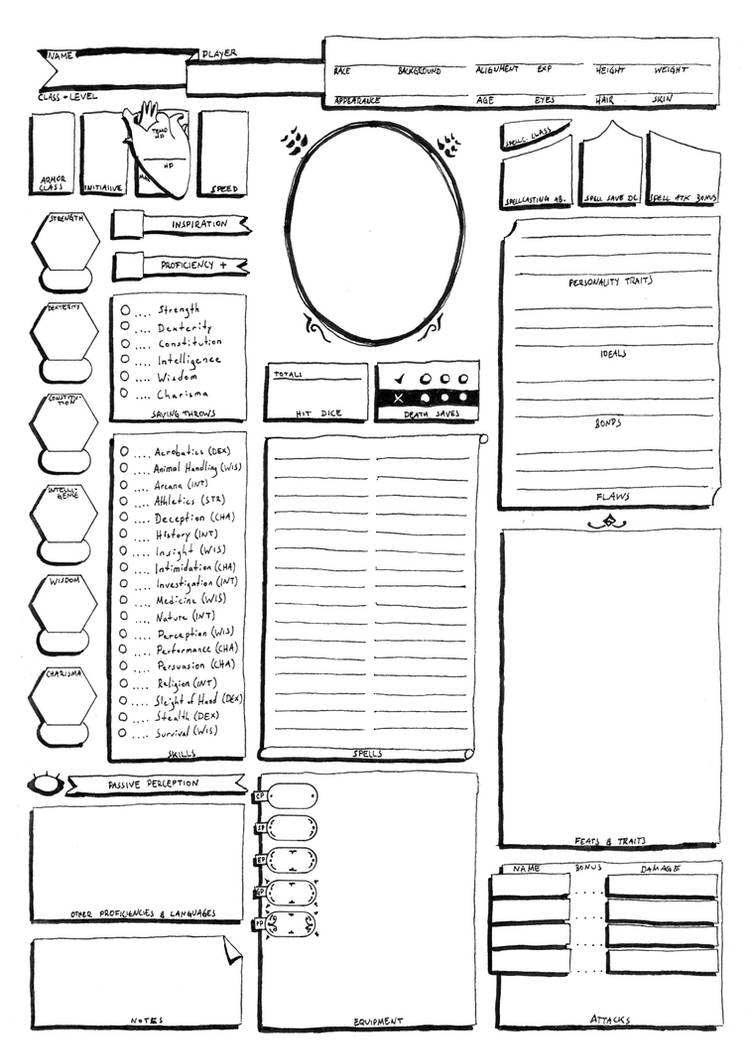 Shocking image for printable dnd character sheet