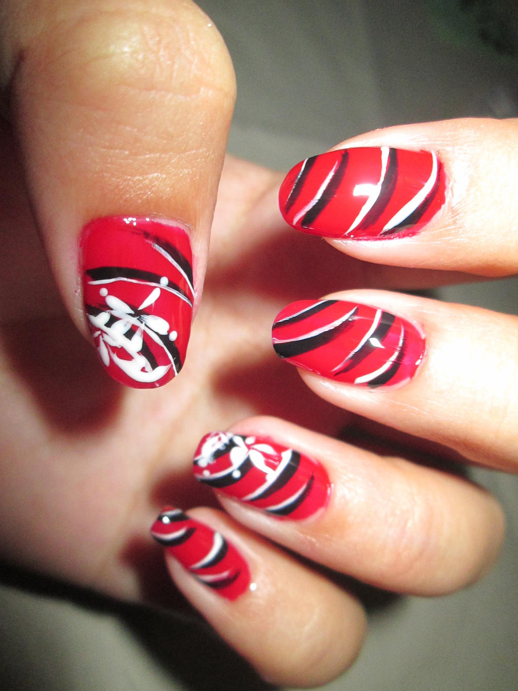 Red Oriental Themed Nail Art Design TUTORIAL by rishamu on