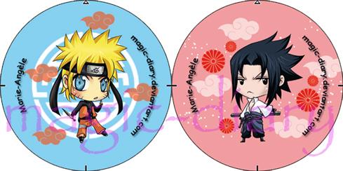 Buttons - Naruto and Sasuke by Magic-Diary