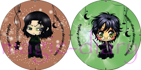 Snape and Harry Buttons by Magic-Diary