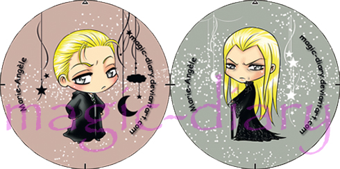 Lucius and Draco Malfoy - buttons by Magic-Diary