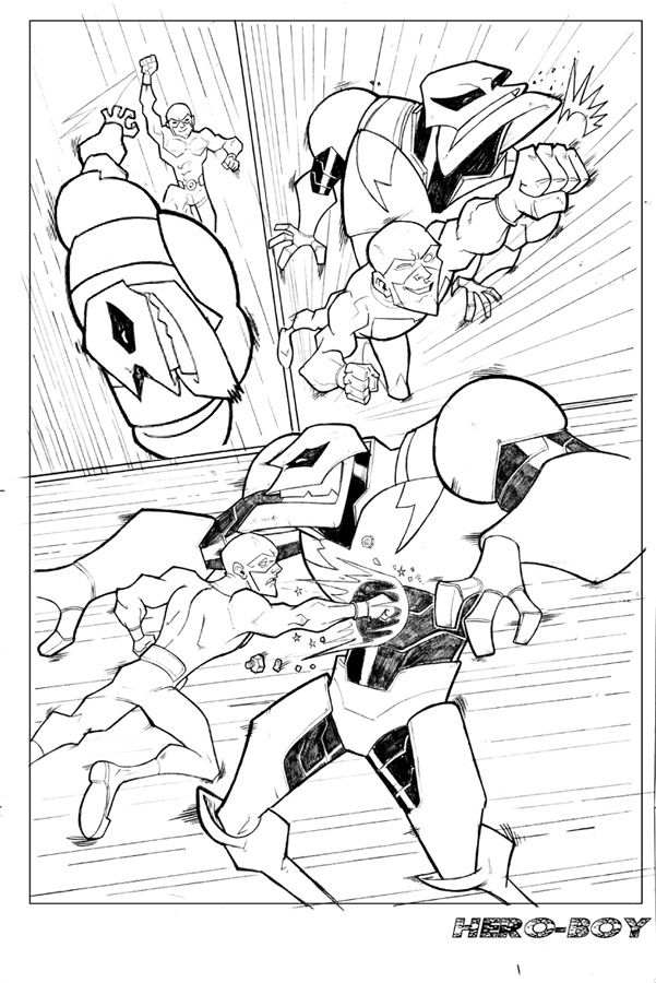 comic book page WIP by HEROBOY