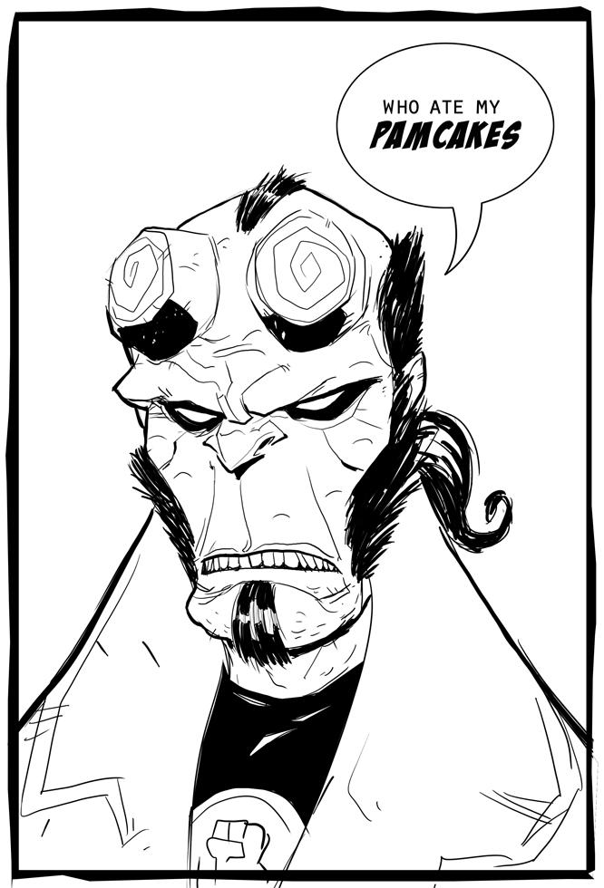 hellboy loves pancakes by HEROBOY