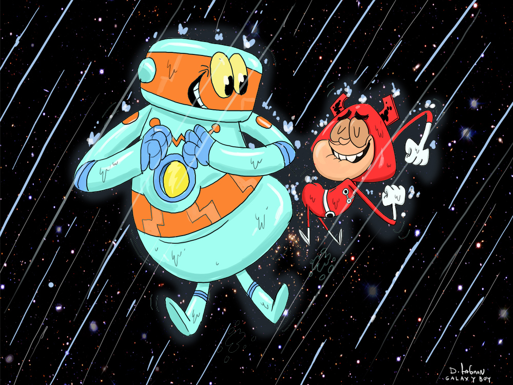 galaxy boy and robot dancing by HEROBOY