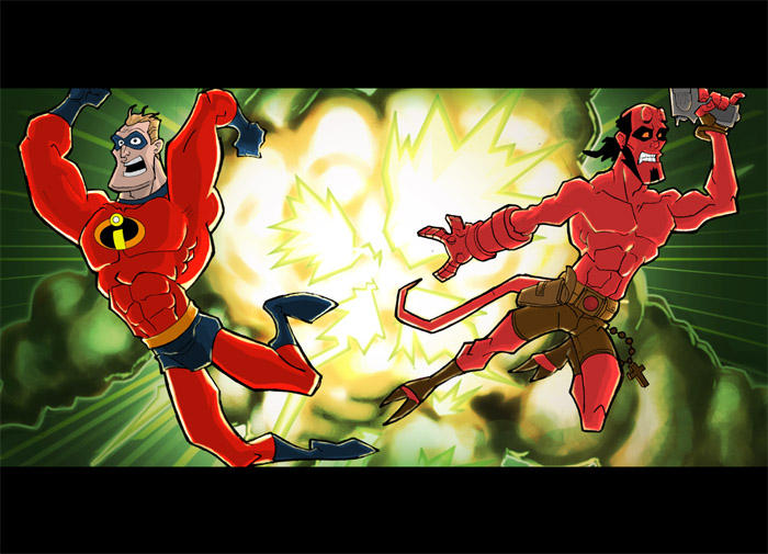 hellboy and mr incredible by HEROBOY