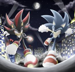 Sonic vs Shadow by Raito-Sarudoi