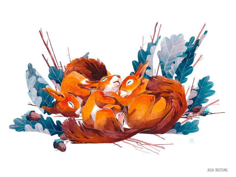 Three squirrels - winter card 2017 by Gnulia