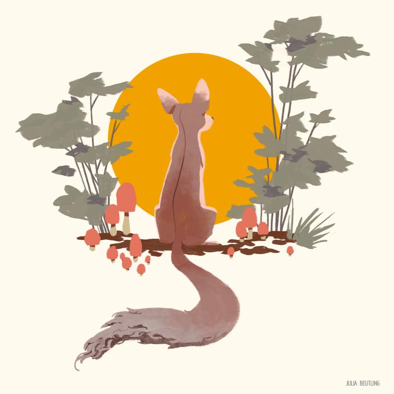 Fox with Mushrooms