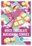 Recipe postcard: White chocolate macadamia cookies