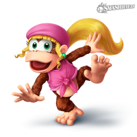 Dixie Kong Smashified Transparent by SeanHicksArt