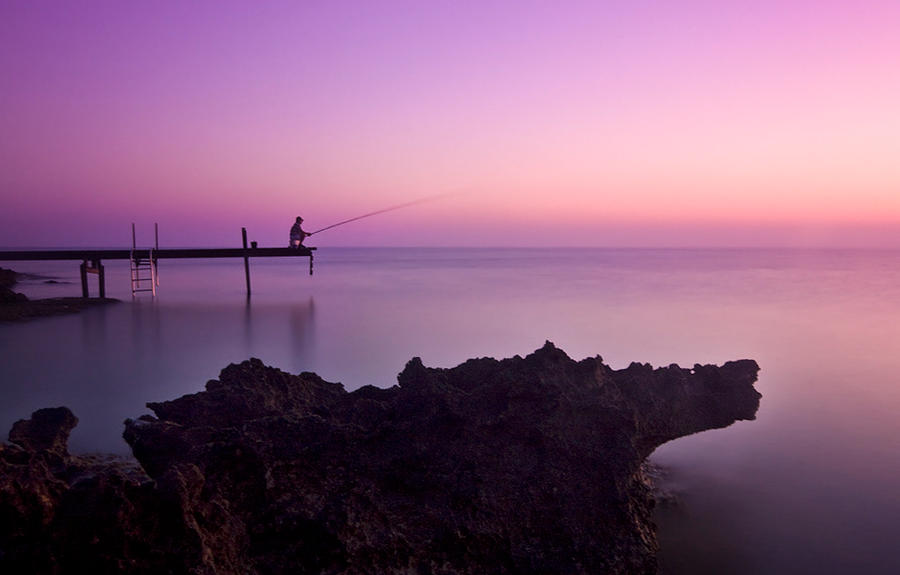 The lone fisherman by AngiWallace